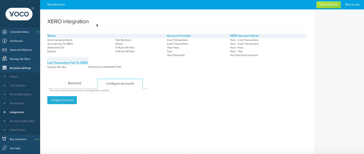 An image of the Yoco and Xero integration.