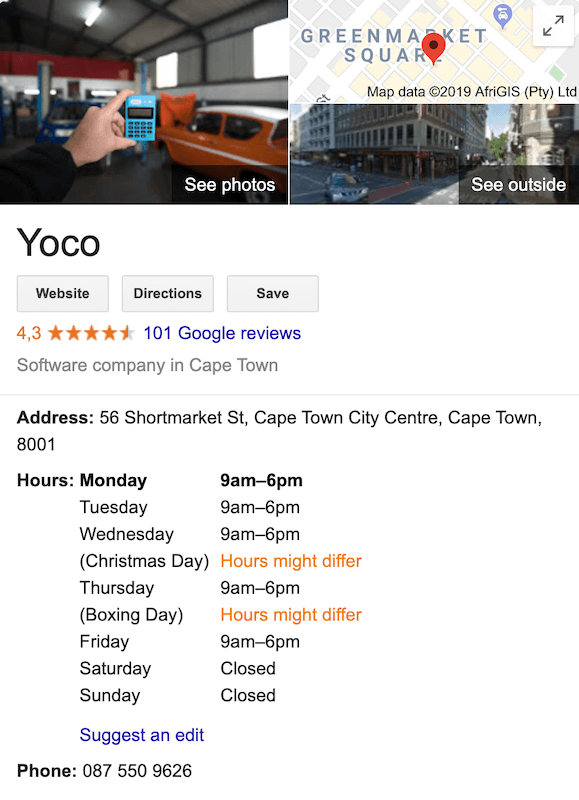 Yoco's Google listing in an article about improving your small businesses online presence.