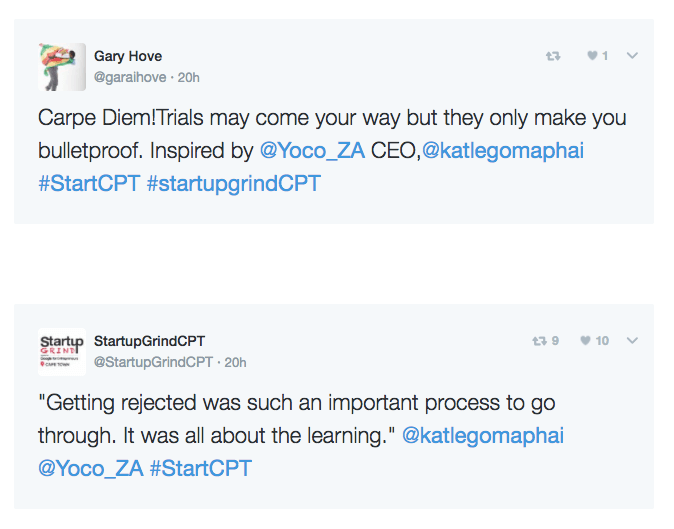 A twitter conversation about the StartUp Grind event with Katlego.