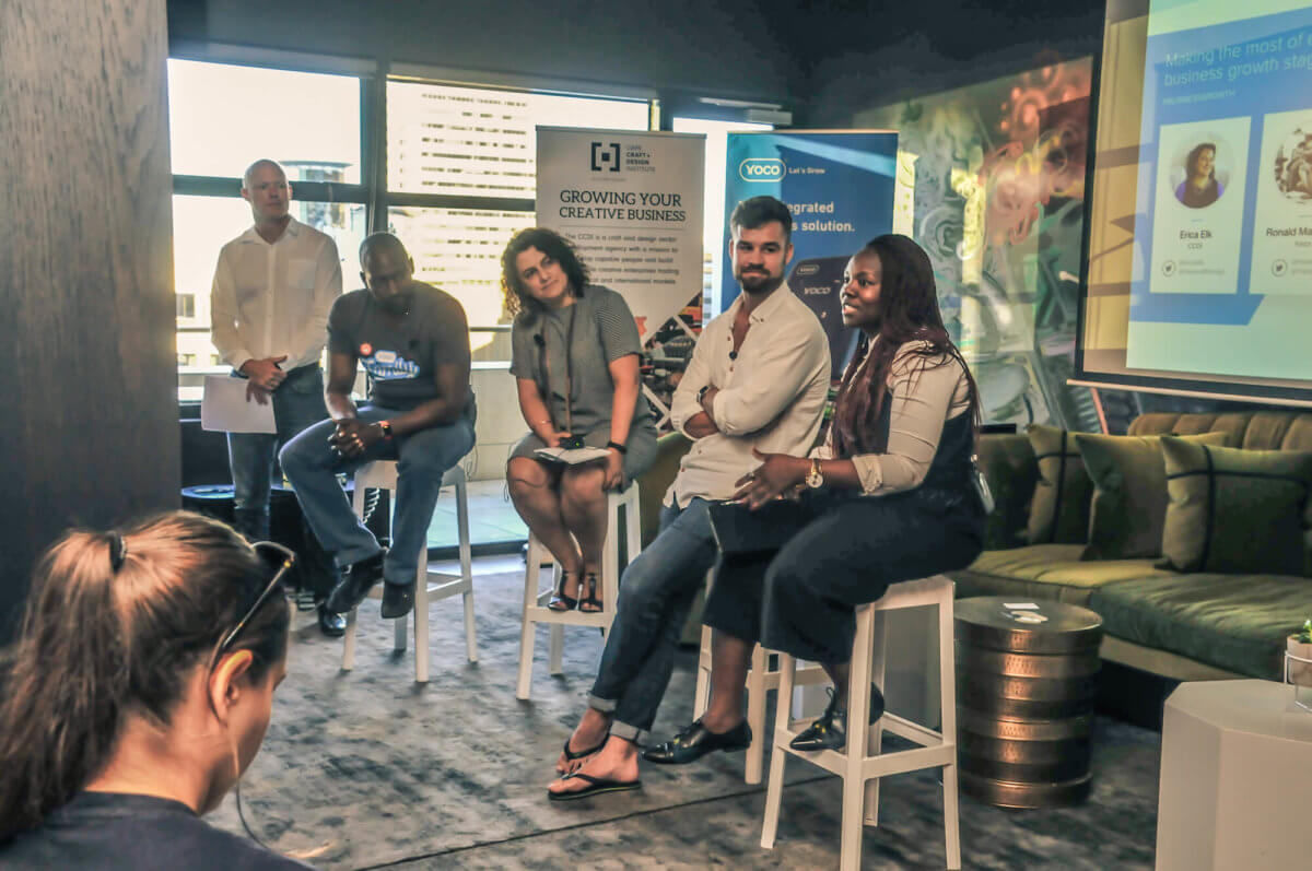 A panel of entrepreneurs at a Yoco and CCDI event.