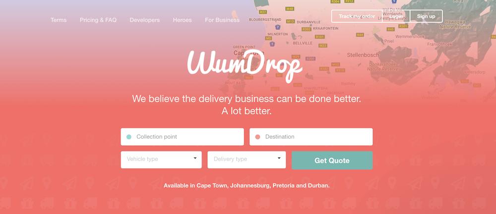 A screenshot of Wumdrop's website.