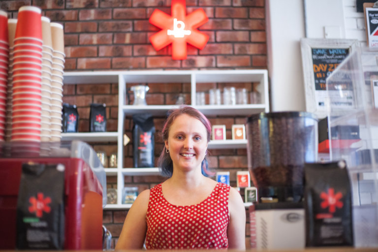 Stacy Kleinhans of Baseline Coffee in Woodstock, Cape Town.