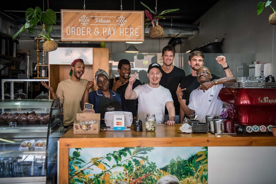 Geoff and his crew at Colombo Coffee in Durban.