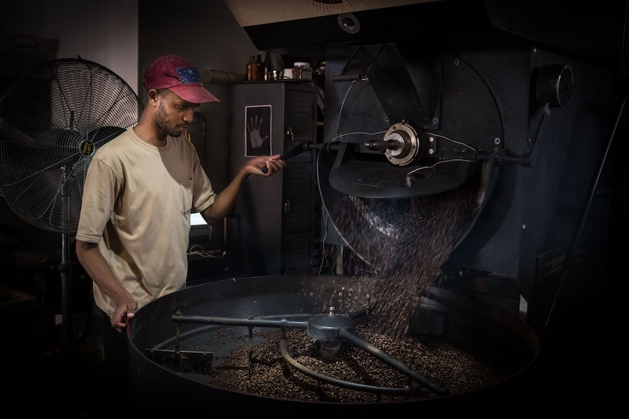 Preparing the coffee beans for Colombo Coffee in Durban.