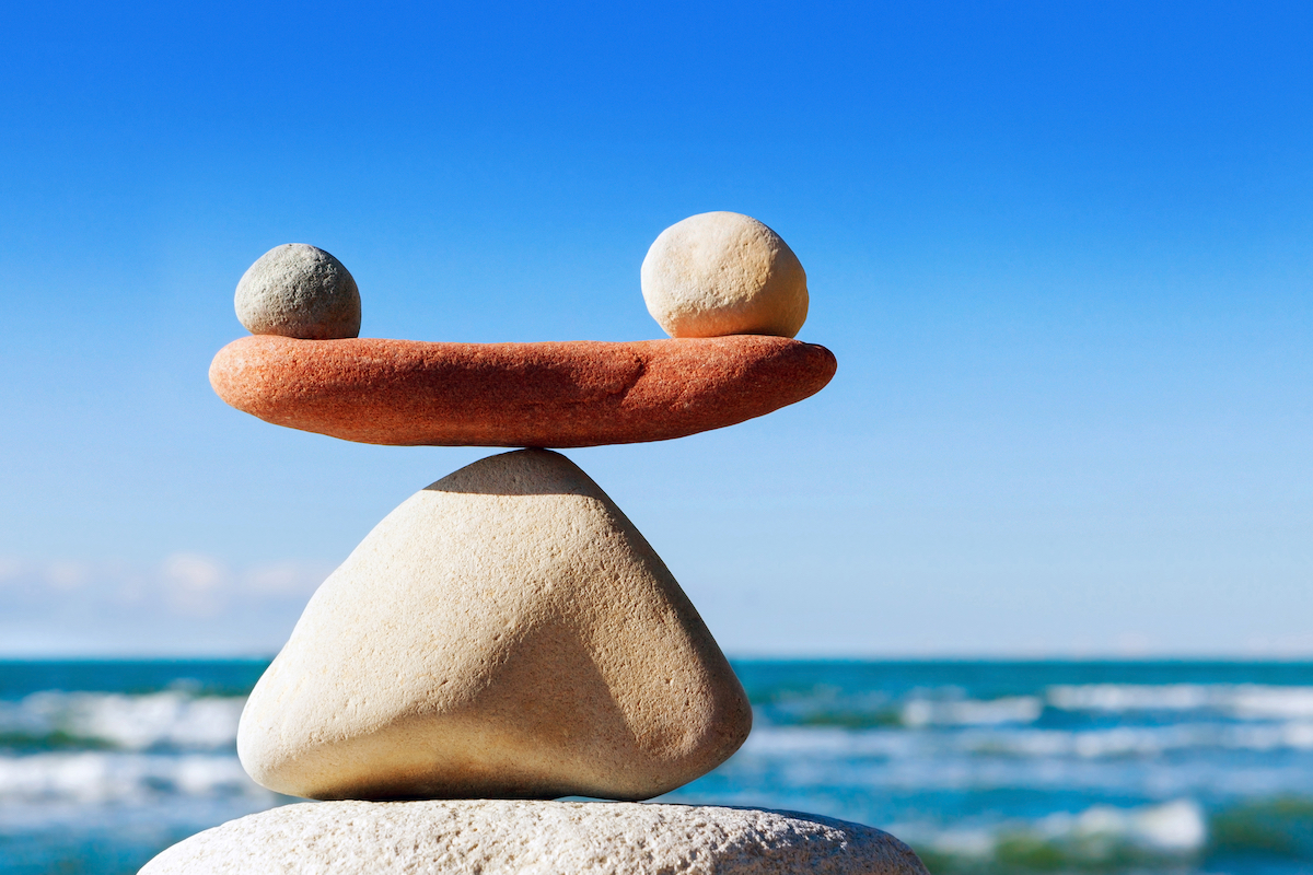 Balanced rocks in article about the right work-life balance as an entrepreneur.
