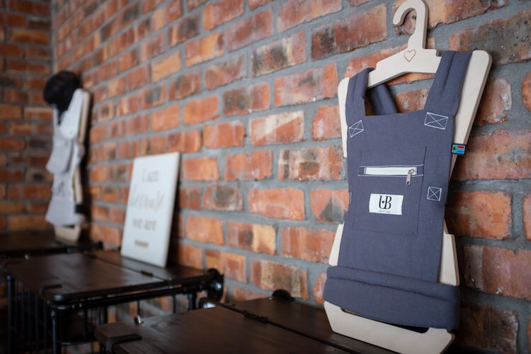 A baby carrier at Ubuntu Baba.