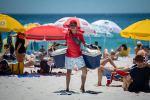 A man selling ice cream on Cape Town's beaches.