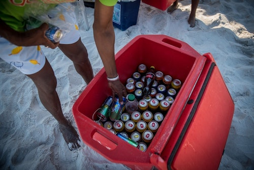 Setting up drinks at the beach.
