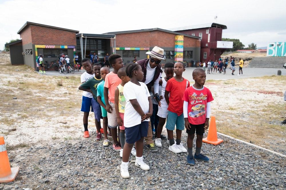 Children waiting to start fitness exercises.