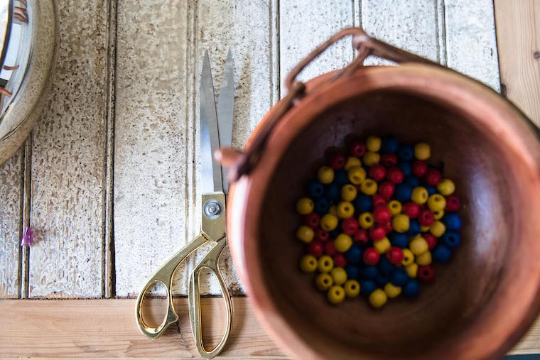 A bowl of colourful beads.
