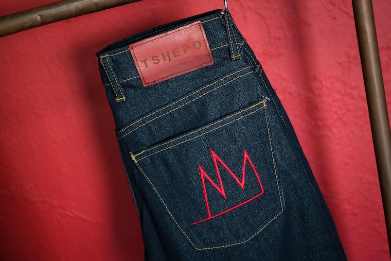 A pair of jeans hanging and ready to sell.