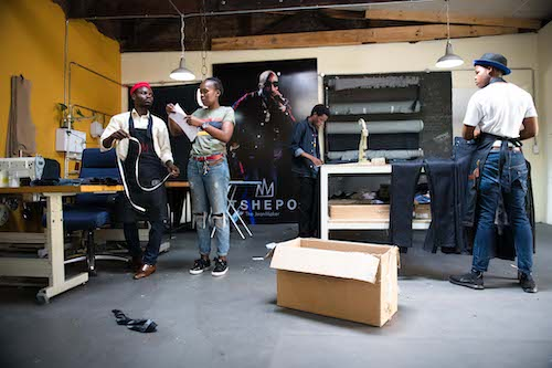 Teamwork in the studio at Tshepo the Jean Maker.