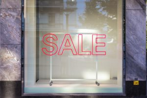 An image of a store front in an article about beating a sales slump with product.