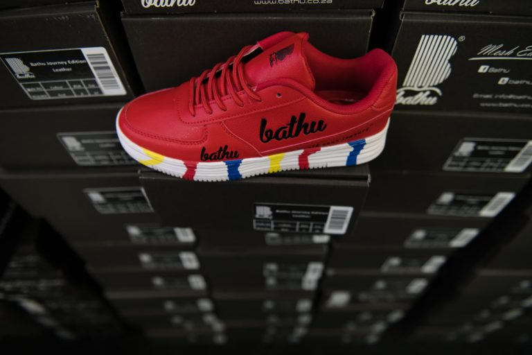 The red colourway of Bathu's shoes.