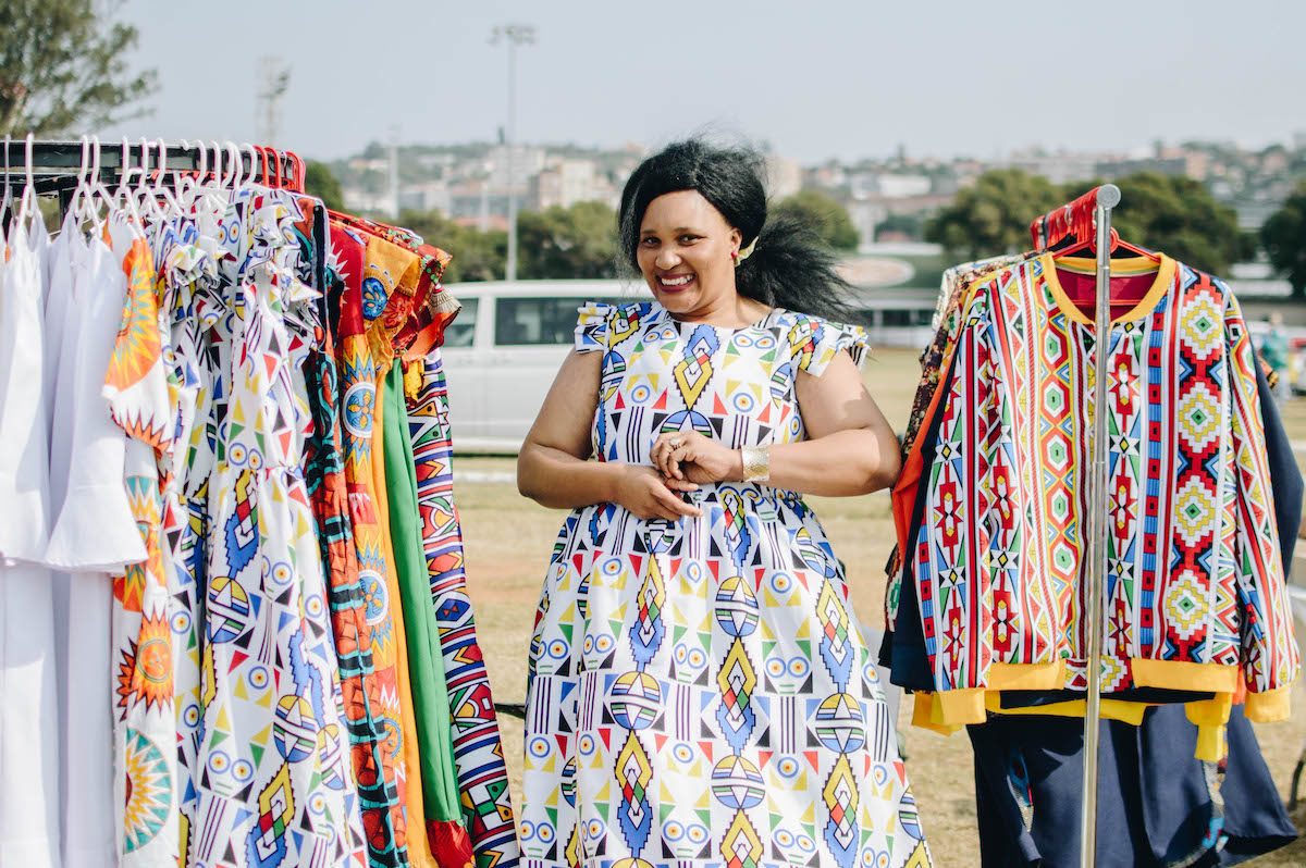 Duduzile Ngubane of Du Confidence with her designs.