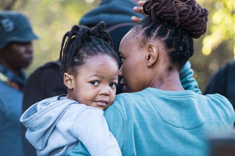 Mokgadi and her daughter on set filming.