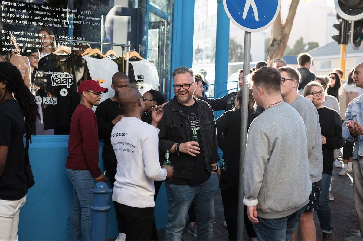 Yoco employees celebrating the launch of the Yoco Bree Street store.