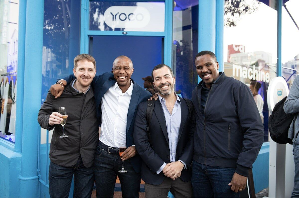The Yoco founders in front of the Yoco Bree Street store.