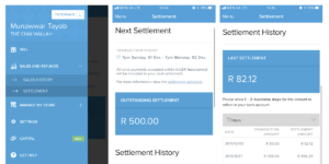 A screenshot of the Yoco Settlement screen in the app.