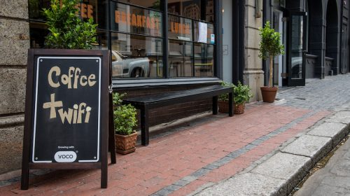 An image of a coffee shop in an article on beating a sales slump.
